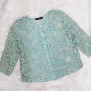 Cut Loose Light Blue Mesh Button Up Blouse Shirt